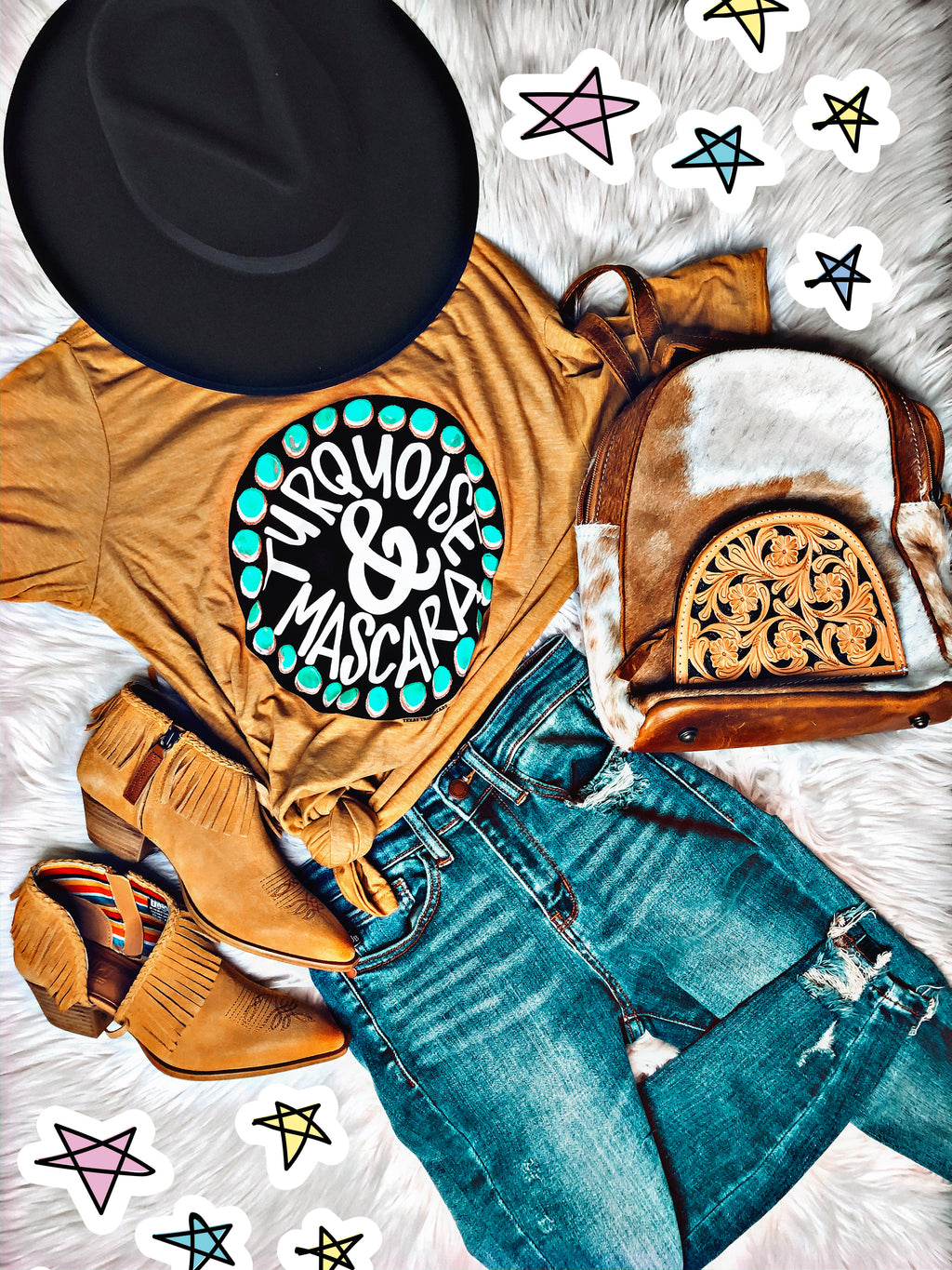 Turquoise And Mascara Tee