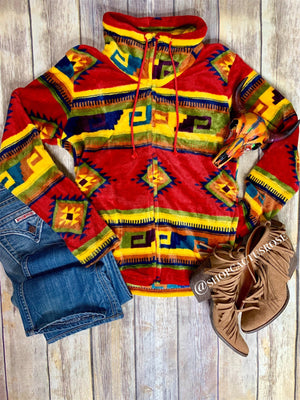Sunset Tribal Fleece Pullover