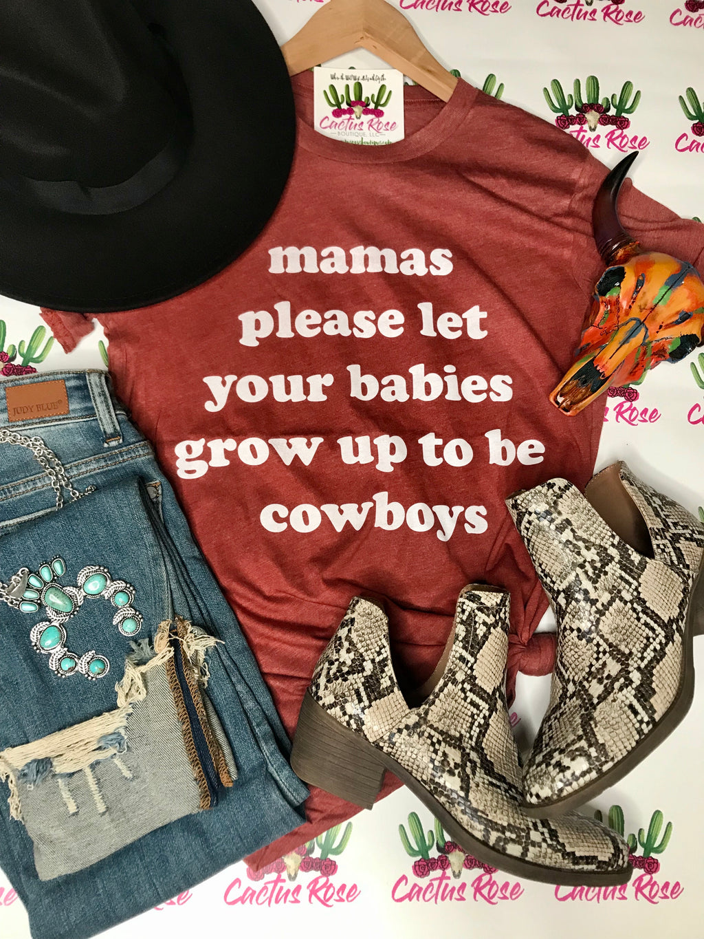 Mama's Please Let Your Babies Grow Up To Be Cowboys Tee