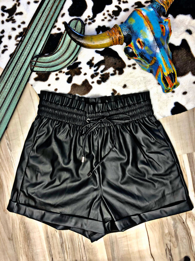 Back In Black Vegan Leather Paper Bag Shorts