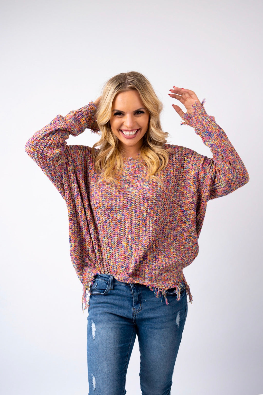 Sherbet Knit Distressed Sweater Top