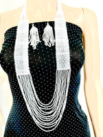 Load image into Gallery viewer, Handcrafted seed Bead necklace earrings set African wedding jewelry