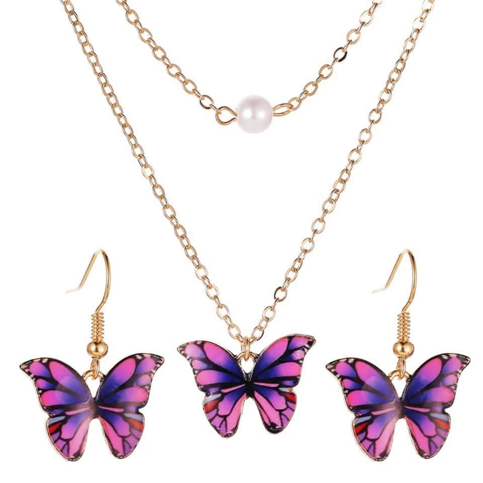 Butterfly necklace 2 layer with faux pearl and enameled earring non rust jewelry gift