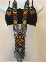 Load image into Gallery viewer, Handcrafted Bead embroidery long necklace earrings set