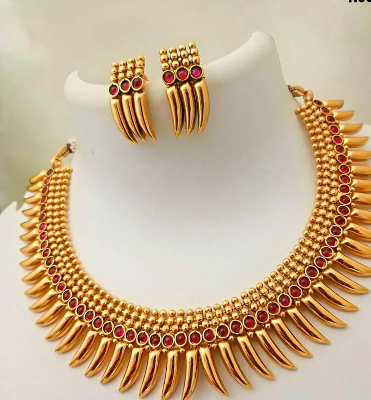 Beautiful necklace earrings set Indian jewelry - WISHKAA.COM