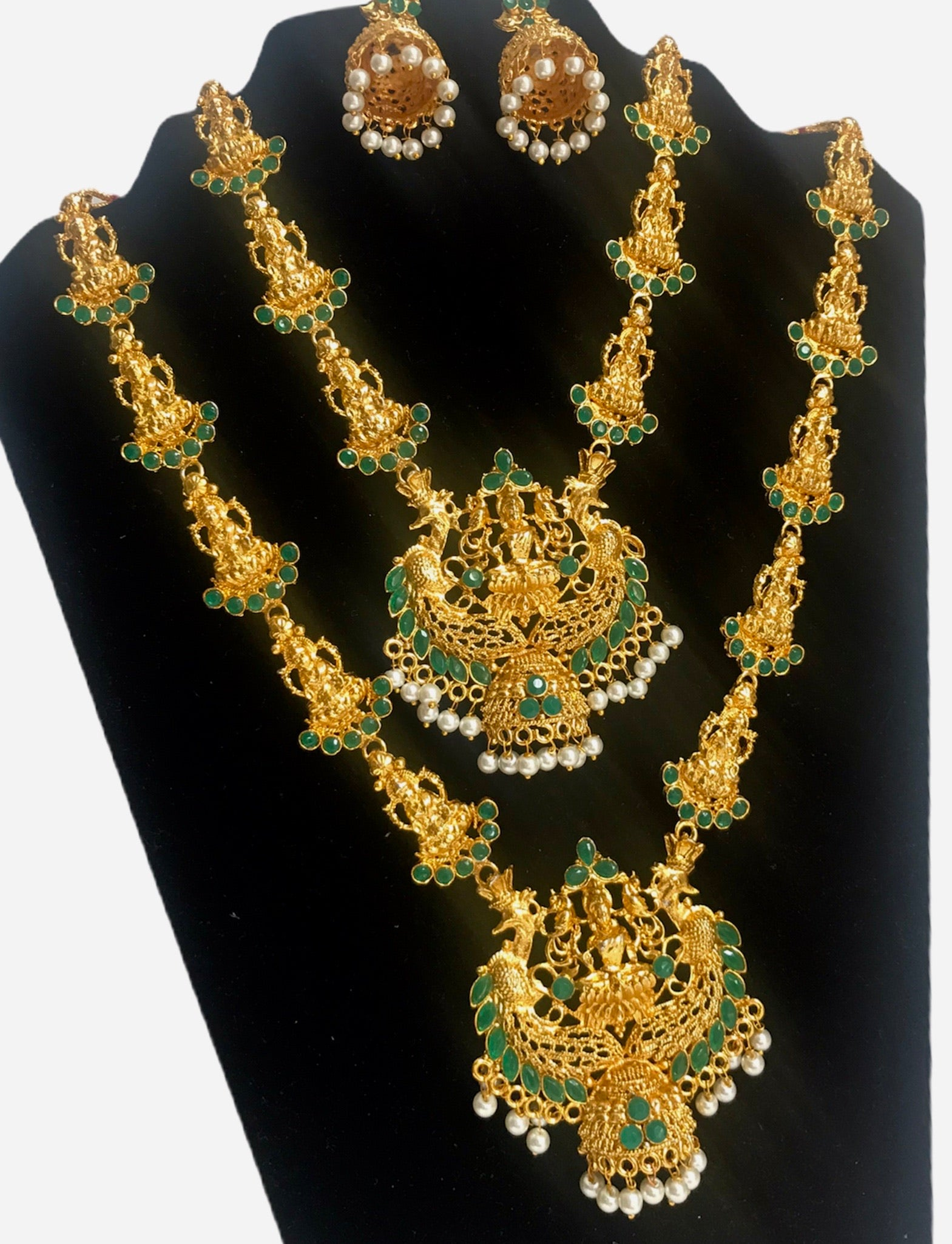 Indian bridal temple necklace combo with earring wedding festival jewelry set for women