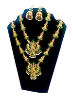Load image into Gallery viewer, Indian bridal temple necklace combo with earring wedding festival jewelry set for women - WISHKAA.COM