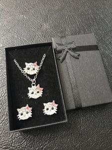 hello kitty necklace earrings ring complete jewelry set - WISHKAA.COM