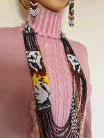 Load image into Gallery viewer, Handcrafted Bead embroidery Tiger long necklace earrings set