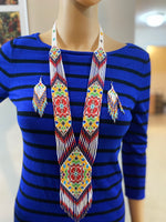 Load image into Gallery viewer, Handcrafted Bead necklace earrings set tribal jewelry