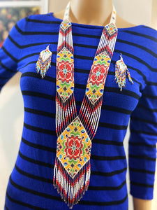 Handcrafted Bead necklace earrings set tribal jewelry