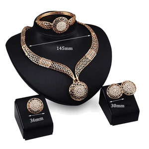 Hollow round pendant necklace earrings bracelet ring bridal jewelry set