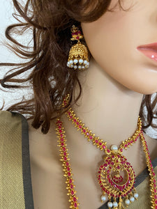 Indian necklace combo earrings wedding jewelry set