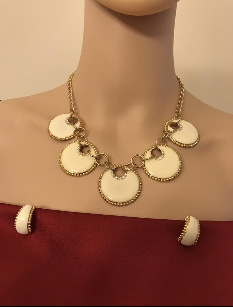 Enamel necklace earrings set for women Ivory color with rhinestone jewelry