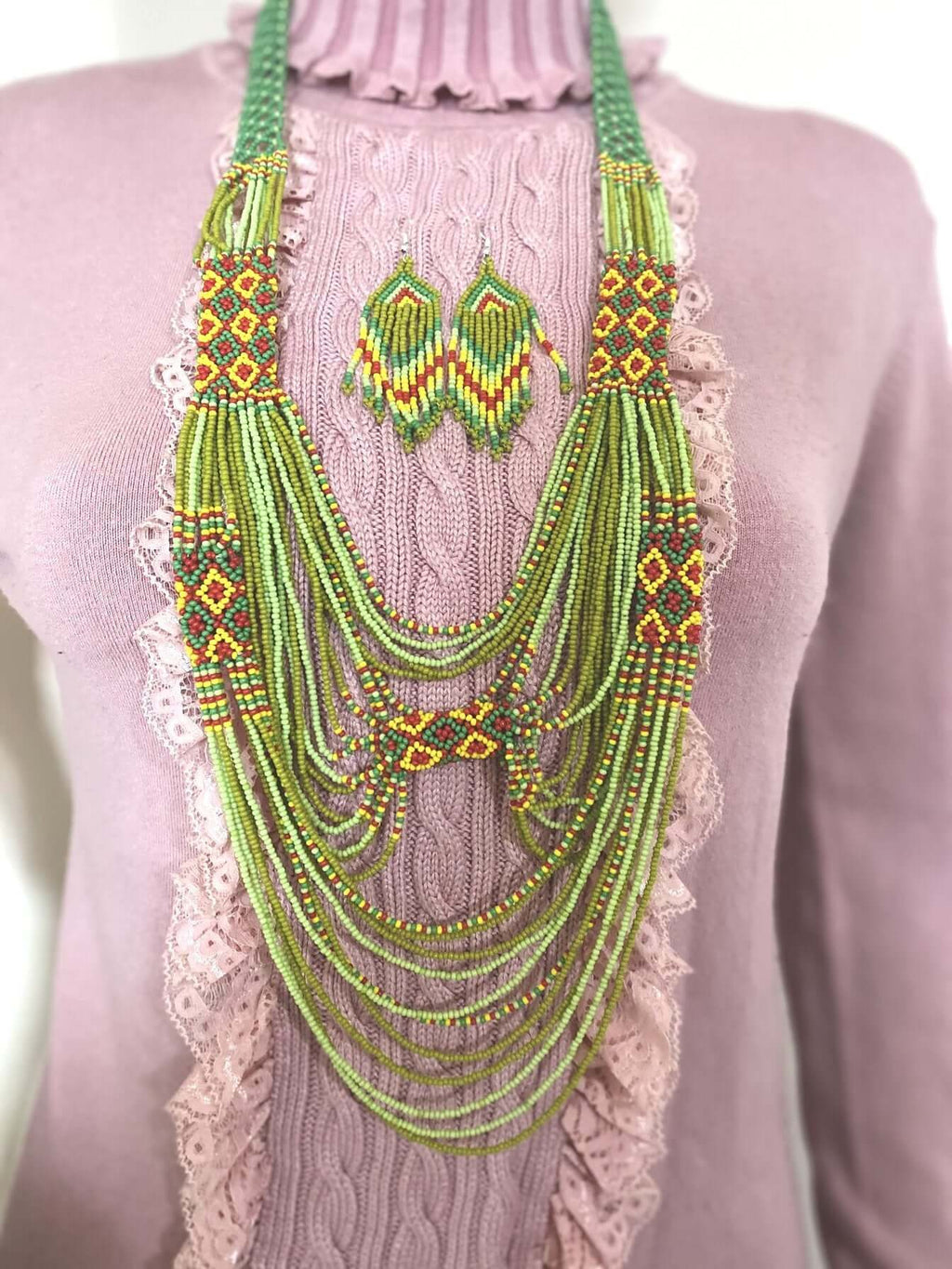 Handcrafted Bead embroidery African necklace earrings set
