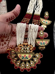 Big pendant royal necklace earrings set with kundan & meenakari