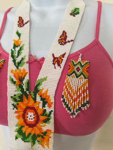 Handcrafted Bead embroidery small necklace earrings set