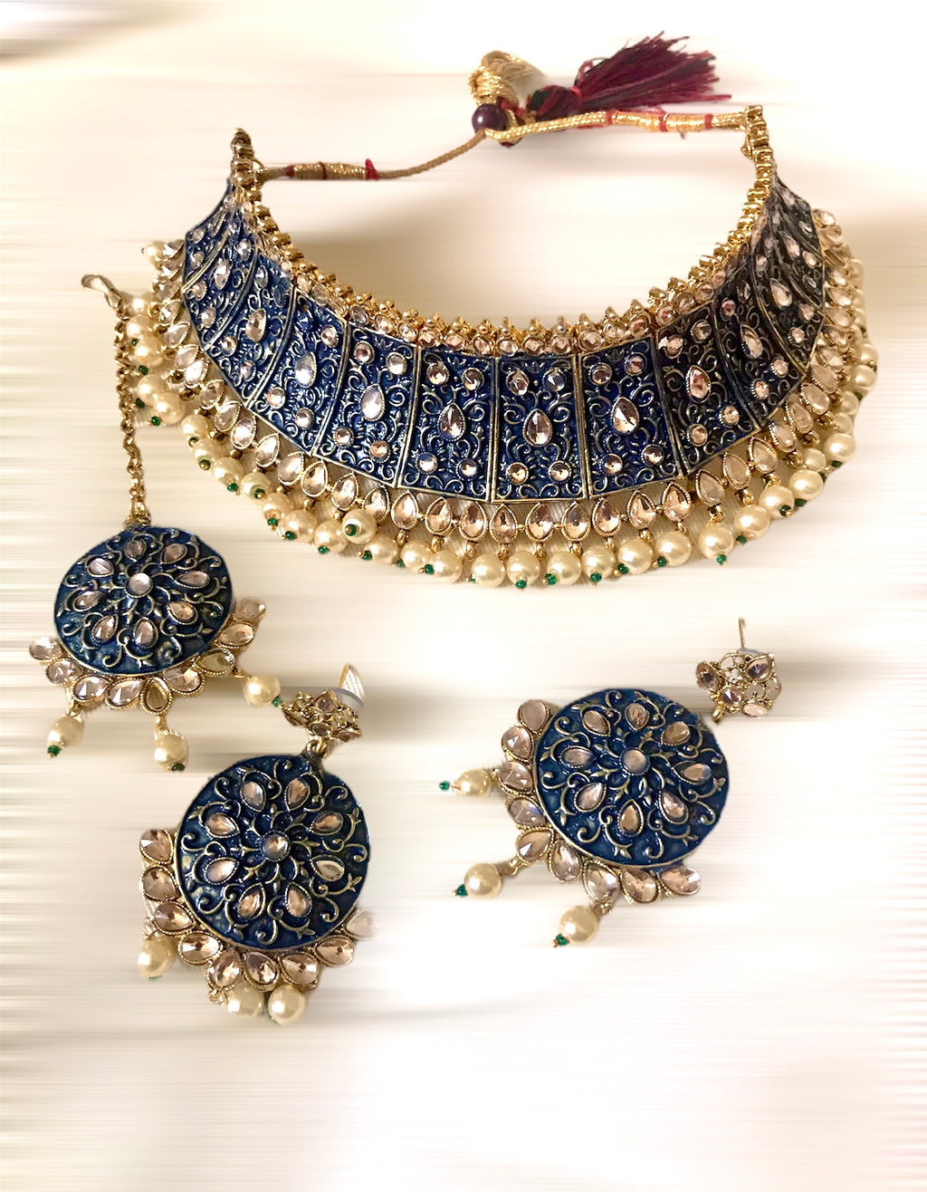 Indian bridal necklace earrings and teeka head jewelry set - WISHKAA.COM