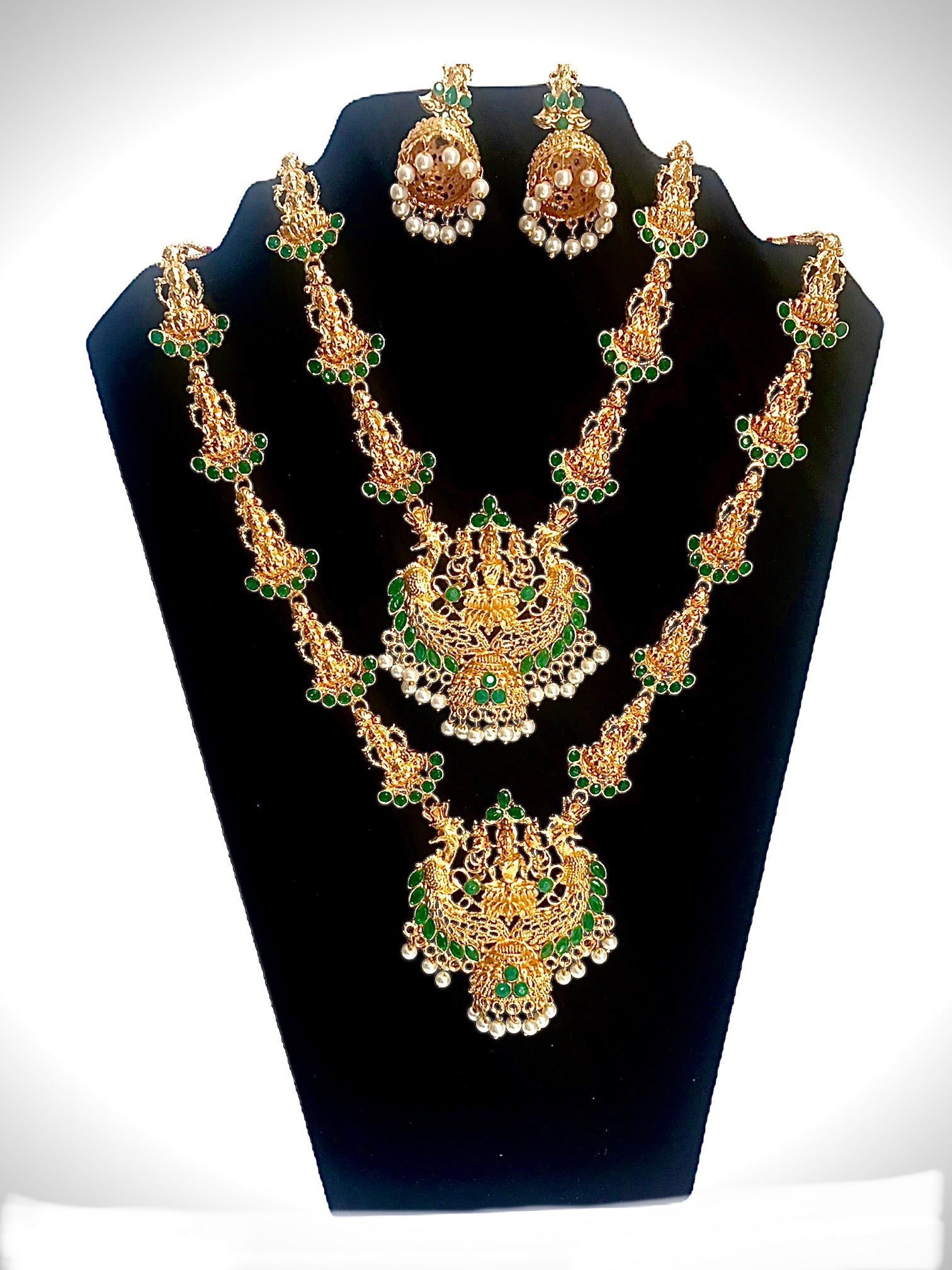 Indian bridal temple necklace combo with earring wedding festival jewelry set for women - WISHKAA.COM