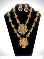 Load image into Gallery viewer, Indian bridal temple necklace combo with earring wedding festival jewelry set for women