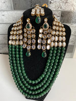 Load image into Gallery viewer, Indian/ African necklace earrings head jewelry set glass beads & kundan work - WISHKAA.COM