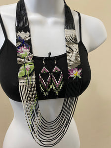 Handcrafted Bead embroidery long necklace earrings set