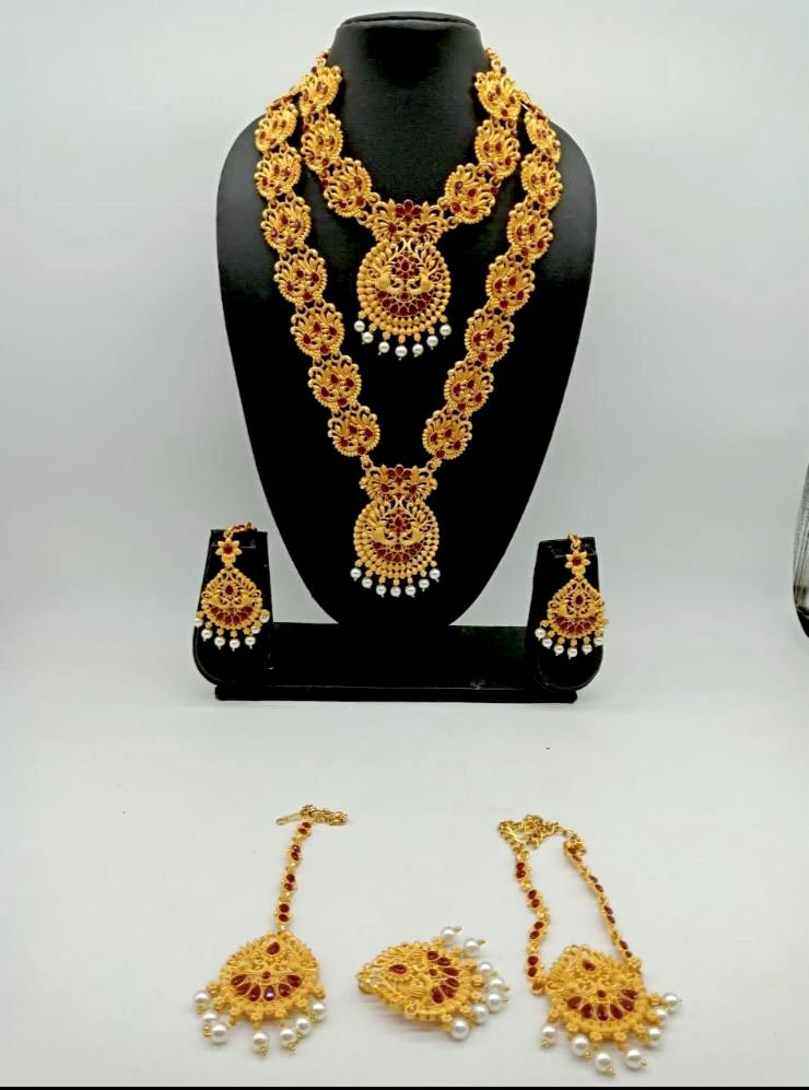 Indian Bridal necklace combo set with earring arm and head jewelry - WISHKAA.COM