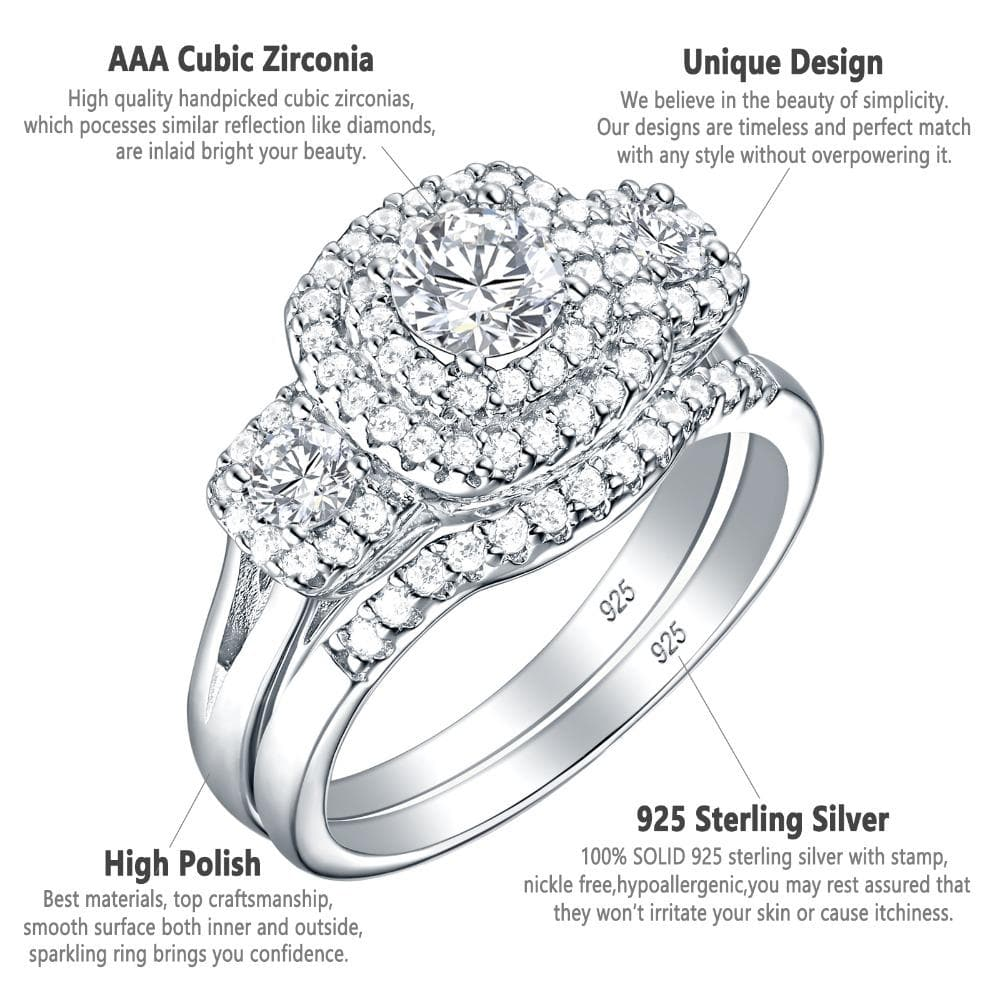 Wedding Ring Set For Women 925 Sterling Silver Classic Jewelry 1.3 Ct Round Cut AAA Cubic Zirconia