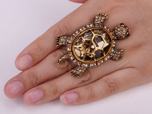 Big vintage turtle stretch ring antique gold silver color crystal scarf jewelry gifts for women - WISHKAA.COM