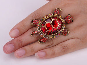 Turtle ring Re sizable antique color crystal scarf jewelry gifts for women