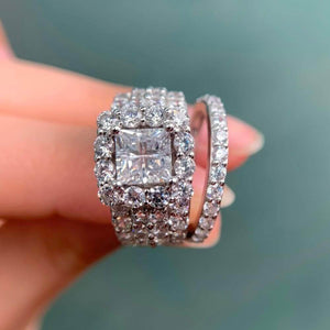CZ Ring 925 Sterling Silver Set 4 Ct AAA Zirconia Classic women Jewelry