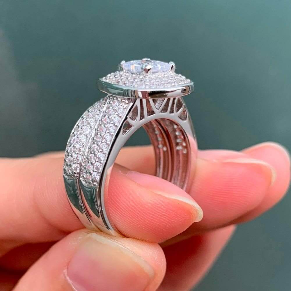 Cubic Zirconia Ring Sterling Silver jewelry 2.26Ct Princess Cut AAA CZ