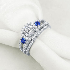925 Sterling Silver Wedding Rings Classic Jewelry Blue Side AAA Zirconia Engagement Ring Bridal Set