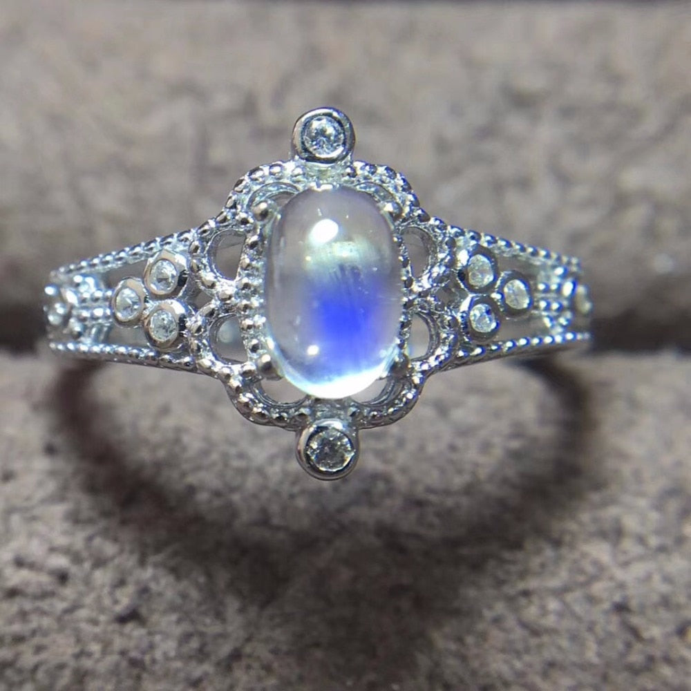 Natural Blue Moonstone Ring for Women 925 Sterling Silver Gemstone Rings With Certificate