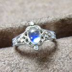 Load image into Gallery viewer, Natural Blue Moonstone Ring for Women 925 Sterling Silver Gemstone Rings With Certificate