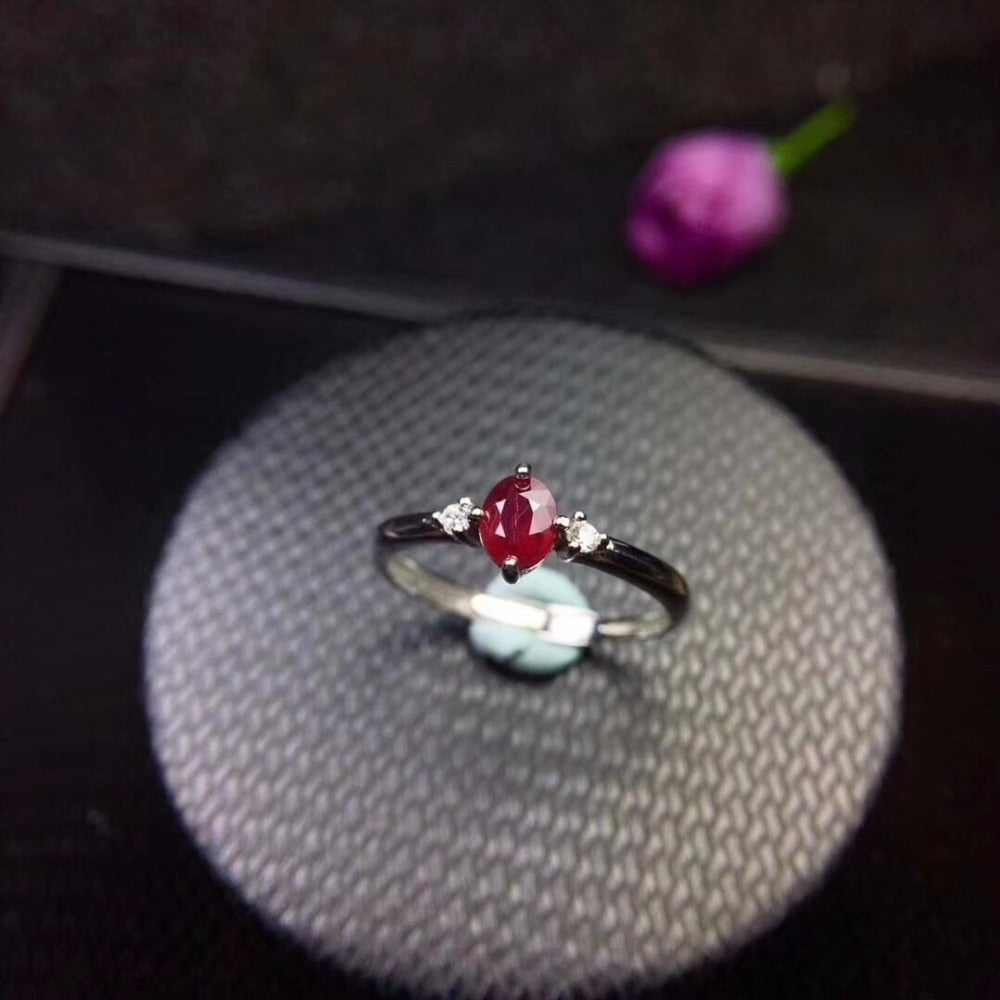 Ruby Ring Certified 925 Sterling Silver Engagement Jewelry for Women