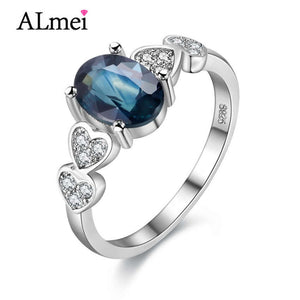 Blue Sapphire ring 0.7ct Natural Stone 925 sterling Silver Wedding Engagement Fine Jewelry for Women