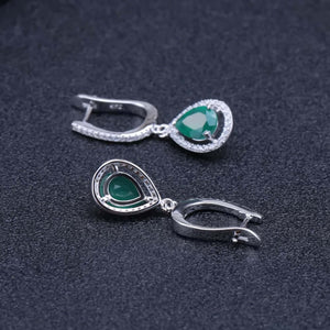 Gemstone Pendant Earrings Ring Set Jewelry Natural Green Agate 925 Sterling Silver Women Fine Jewelry