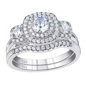 Wedding Ring Set For Women 925 Sterling Silver Classic Jewelry 1.3 Ct Round Cut AAA Cubic Zirconia - WISHKAA.COM