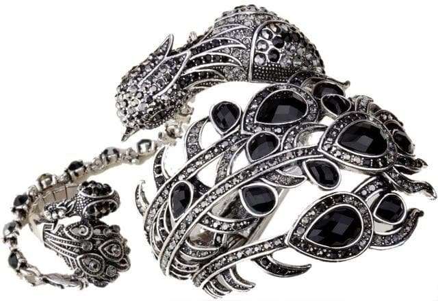 Bracelet Peacock Hand Chain Attached Ring Sets Women Jewelry Gifts Bangle - WISHKAA.COM