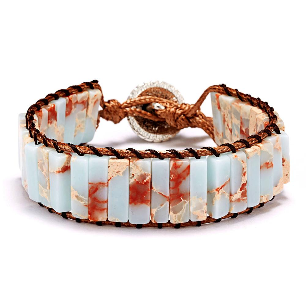 Wrap Bracelet for Women Stone Beaded Rectangle Shape boho style with Adjustable string