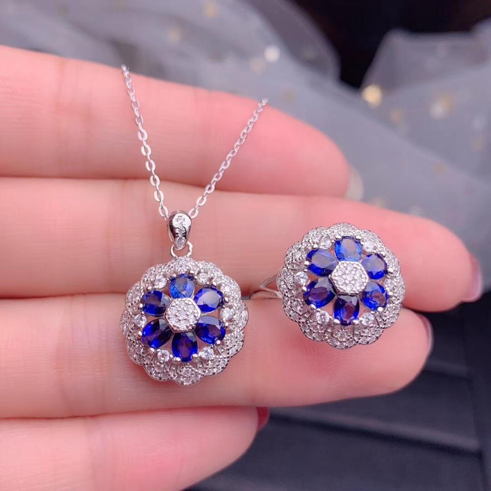 Natural Blue Sapphire Pendant Necklace & Ring 925 Sterling Sliver Gemstone Jewelry Set