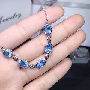 Bracelet Blue-topaz Natural Gemstone Jewelry for Women Authentic 925 Sterling Silver - WISHKAA.COM
