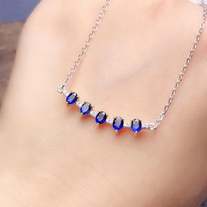 Blue Sapphire Necklace Authentic 925 Sterling Silver, Gemstone jewelry