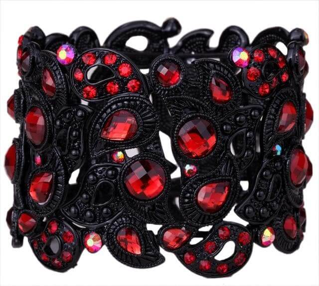 Crystal Stretch Bracelet Flower Women Fashion Jewelry Black Gold Silver Color