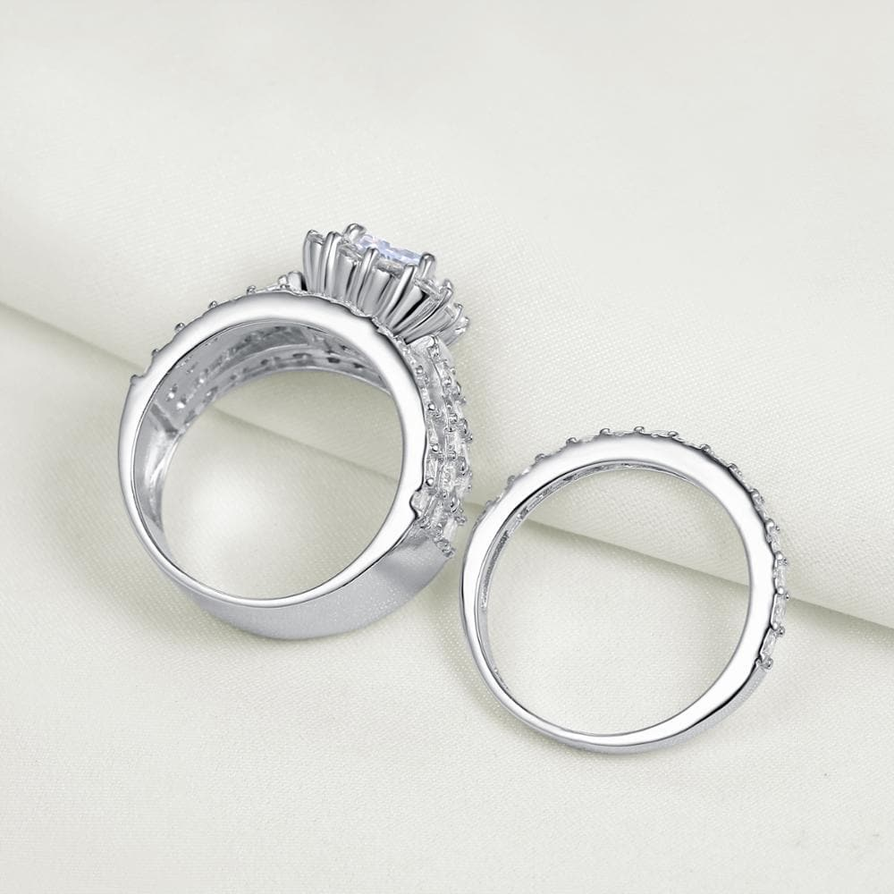 925 Sterling Silver wedding/Engagement Ring Set For Women 4 Carats AAA Zirconia Classic Jewelry