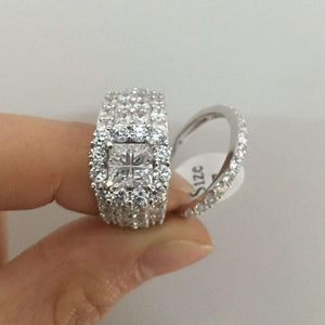 925 Sterling Silver wedding/Engagement Ring Set For Women 4 Carats AAA Zirconia Classic Jewelry - WISHKAA.COM