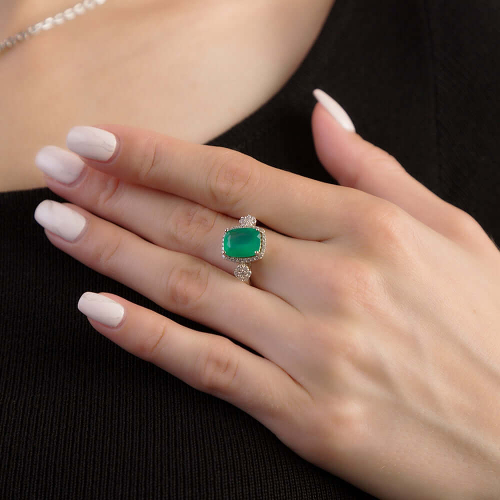 Green Agate Ring Solid 925 Sterling Silver Fine Jewelry