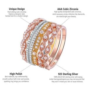 Stackable Wedding Ring set 925 Sterling Silver Golden Rose Gold Jewelry