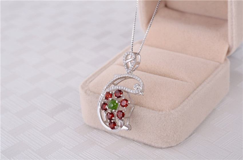 Pendant Chain 1.4ct Red Garnet 925 Sterling Silver Dolphin Charm Jewelry